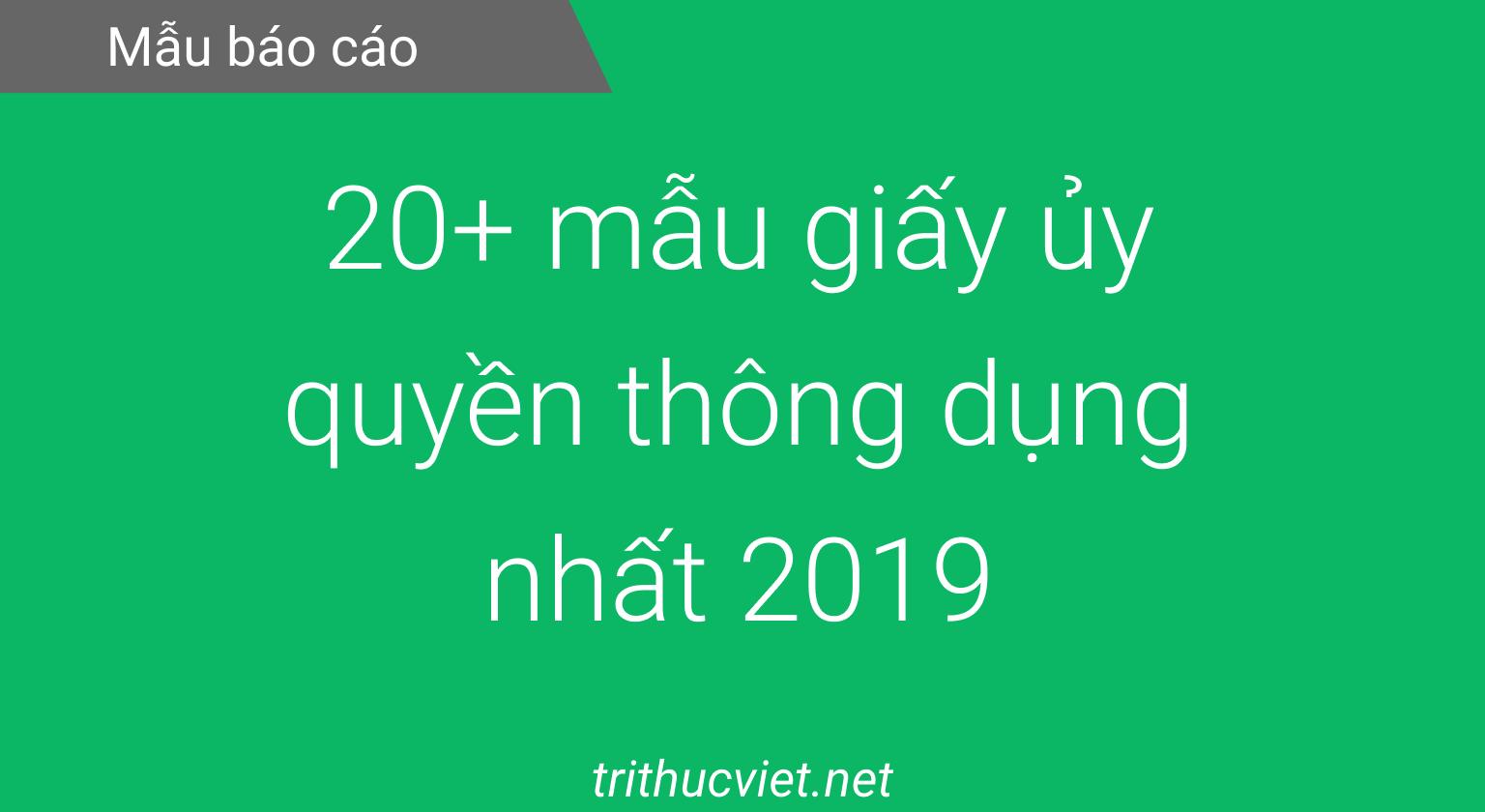 mẫu giấy ủy quyền 2019
