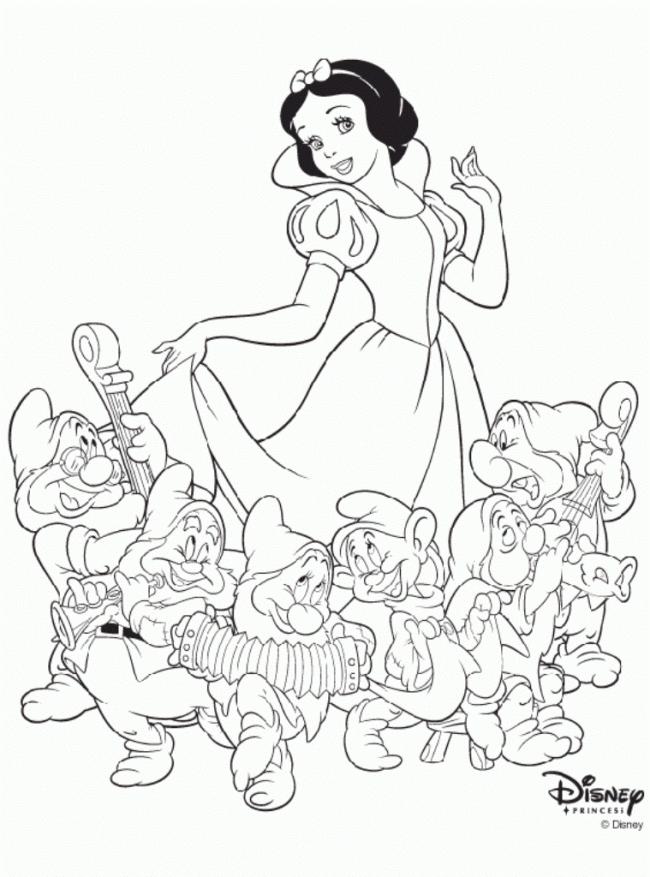 Tô màu công chúa Bạch Tuyết cùng với 7 chú lùn
