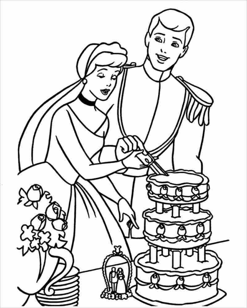 công chúa và hoàng tử cùng cắt bánh