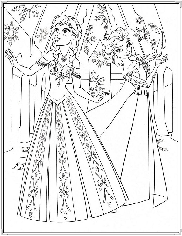 Tô màu công chúa Elsa và Anna dễ thương