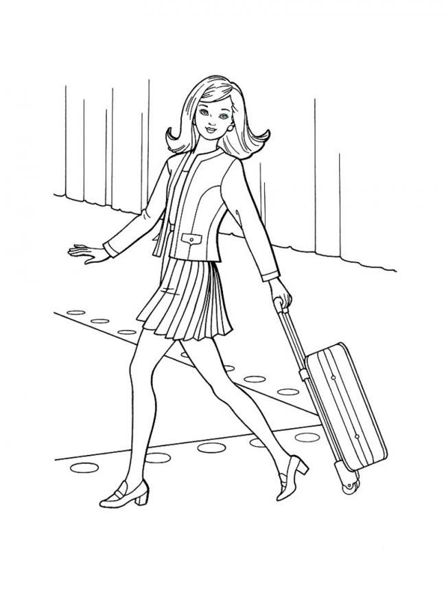 Tô màu công chúa Barbie kéo vali đi du lịch