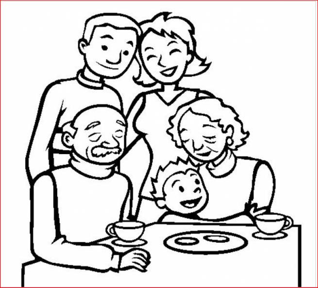 Tranh gia đình vui vẻ cho trẻ 4 tuổi