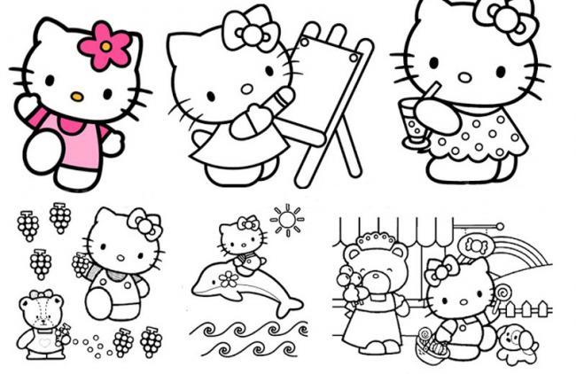 Tranh tập tô mèo Hello Kitty cho bé