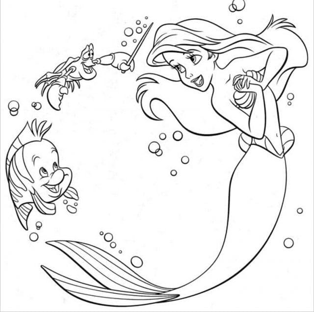 Tranh tô màu nàng tiên cá xinh đẹp, dễ thương