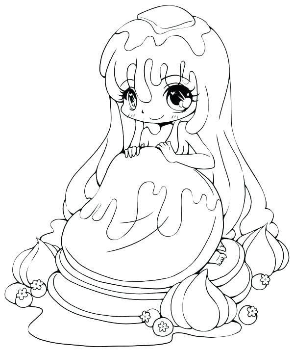 Tranh tô màu công chúa Chibi với đôi mắt to tròn