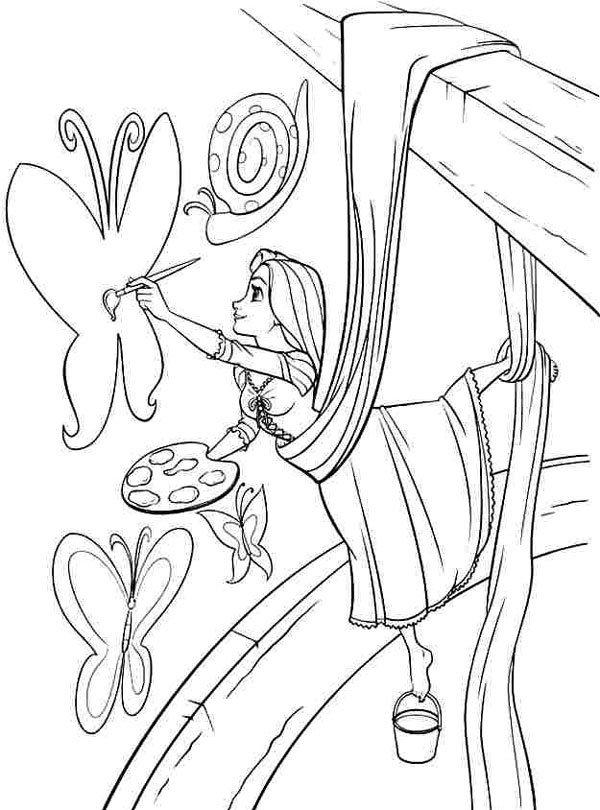 Hình ảnh công chúa tóc mây đang vẽ tranh
