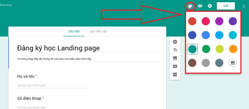 Thay đổi tone màu nền cho google biểu mẫu của bạn