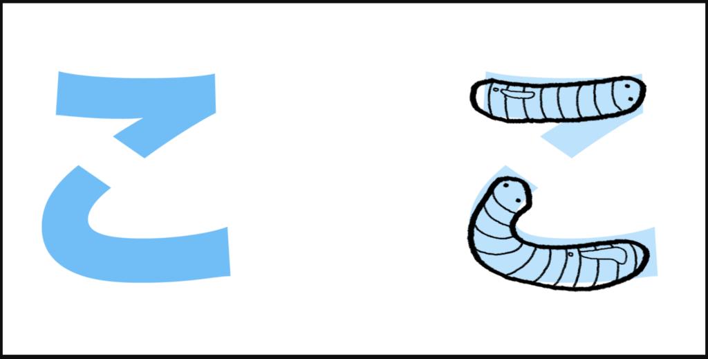 "こ là cách ghép giữa ""k"" với ""お"", tạo thành ""ko"""
