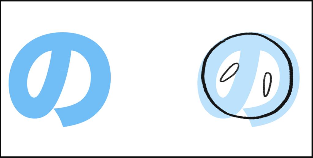 "の là cách ghép giữa ""n"" với ""お"", tạo thành ""no"""