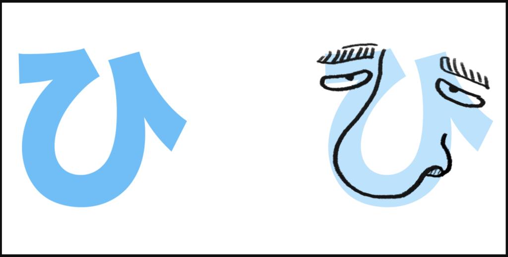 """ひ là sự kết hợp của """"h"""" với âm """"い"""", có cách đọc là """"hi"""""""