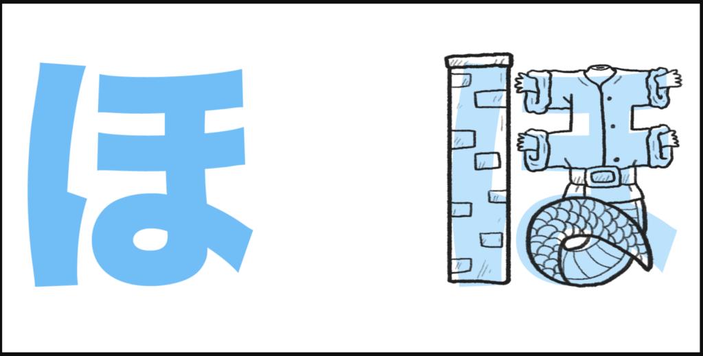 "ほ là cách ghép giữa ""h"" với ""お"", tạo thành ""ho"""