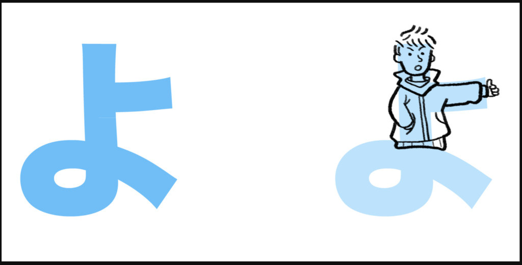 "よ là cách ghép giữa ""y"" với ""お"", tạo thành ""yo"""