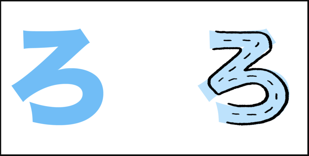 "ろ là cách ghép giữa ""r"" với ""お"", tạo thành ""ro"""