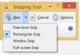 4 tuỳ chọn chụp màn hình trong Snipping Tool