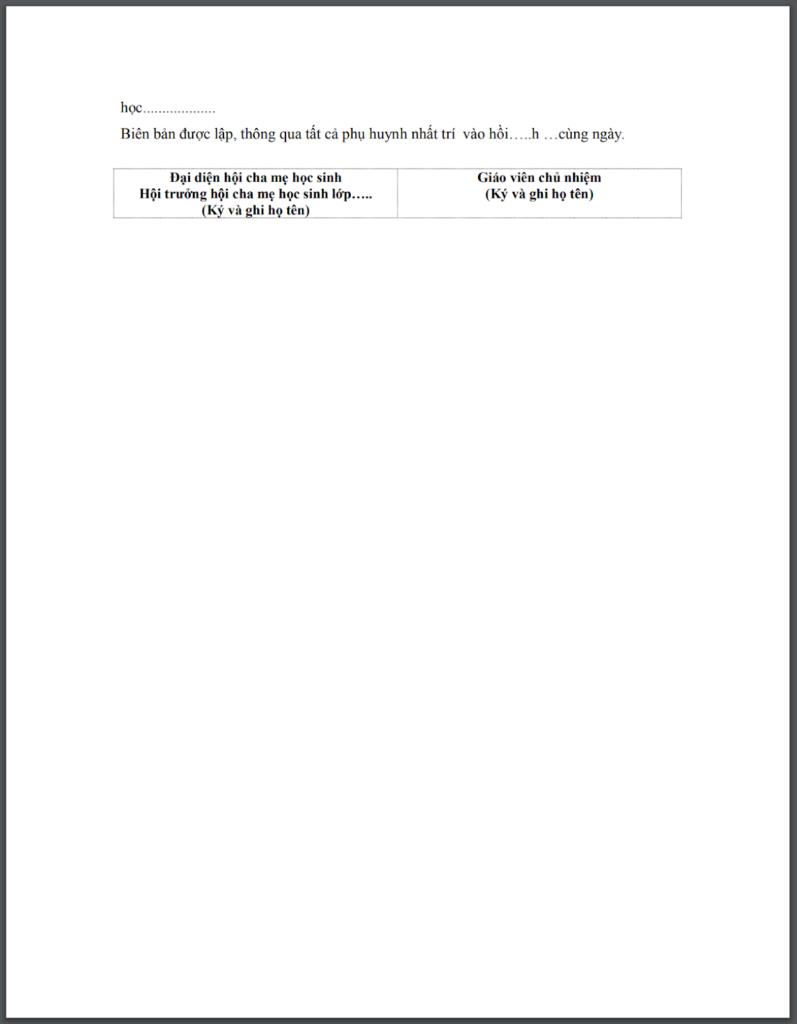 Biên bản họp phụ huynh học sinh, sinh viên