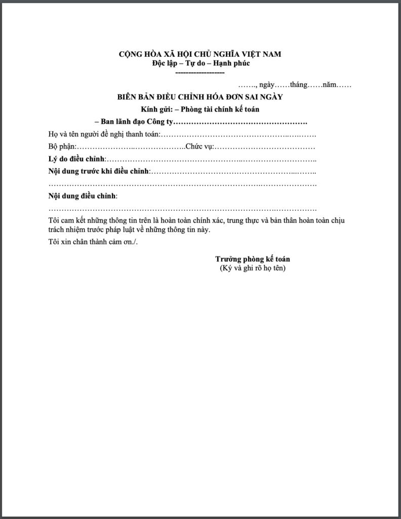 Biên bản điều chỉnh hoá đơn sai ngày