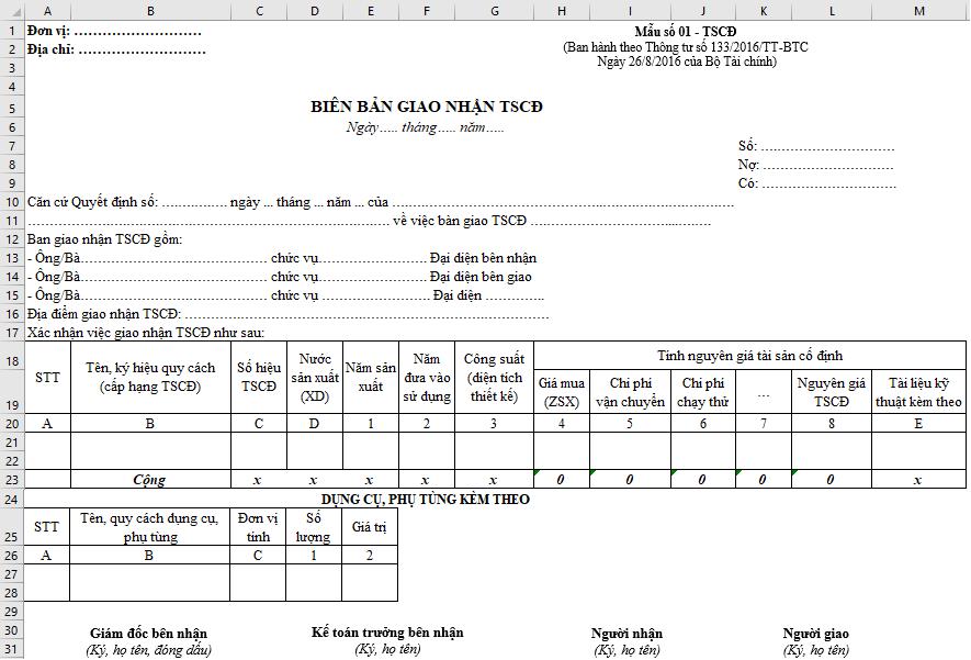 Cách ghi biên bản bàn giao nhận tài sản cố định