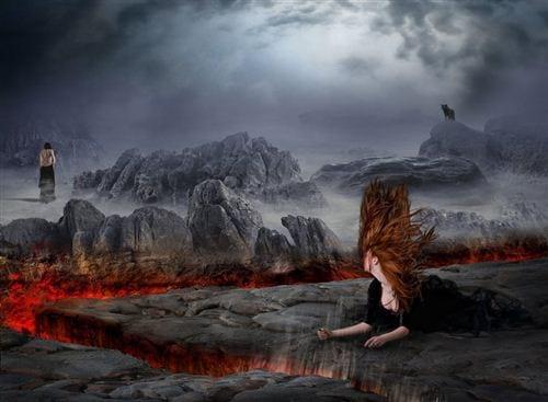 Hình ảnh buồn về tình yêu tan vỡ giống có nỗi đau giống như địa ngục