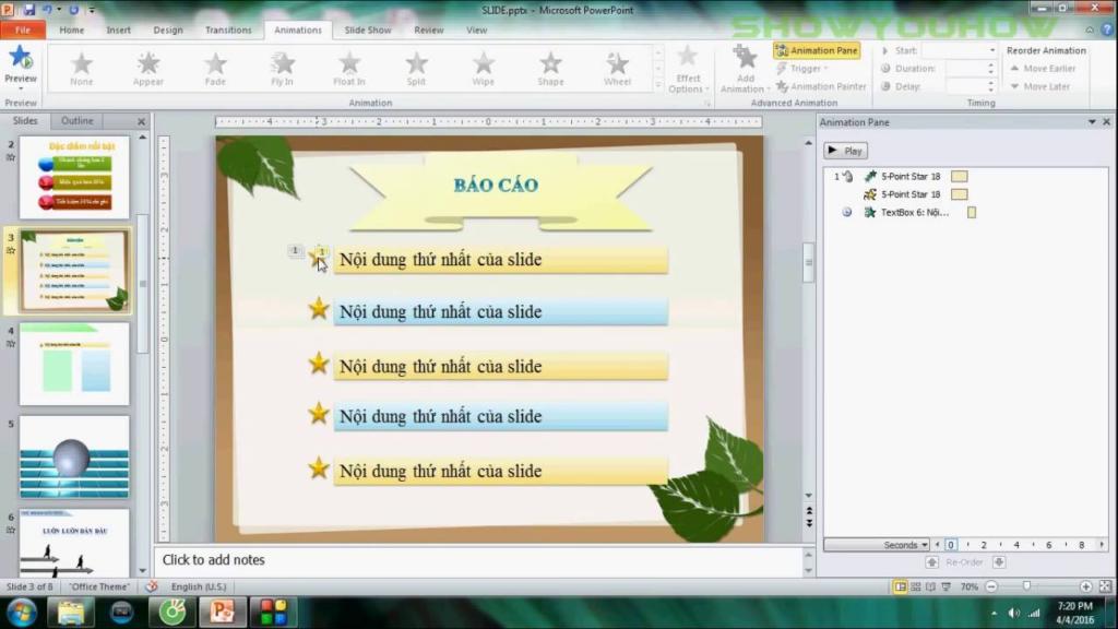 Không bắt buộc phải để hình nền powerpoint cho tất cả các slide