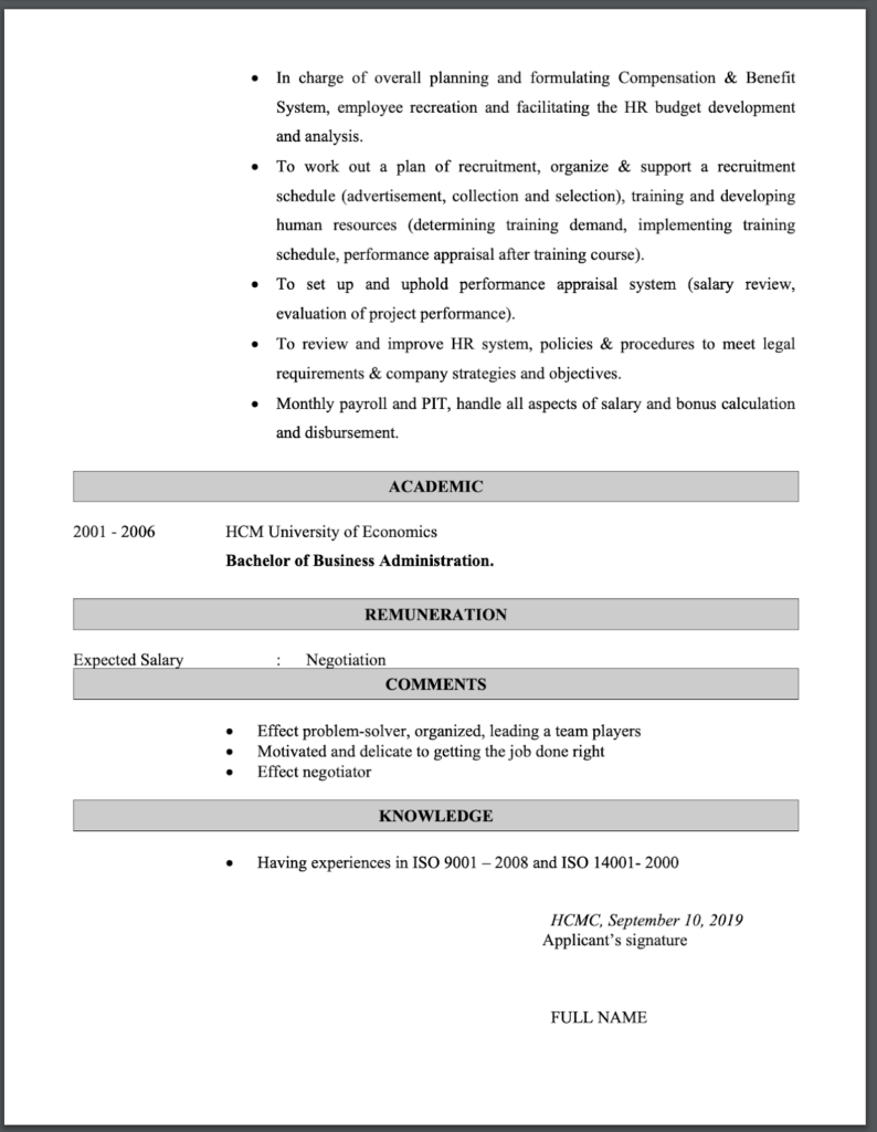 Mẫu CV tiếng anh Human Resources