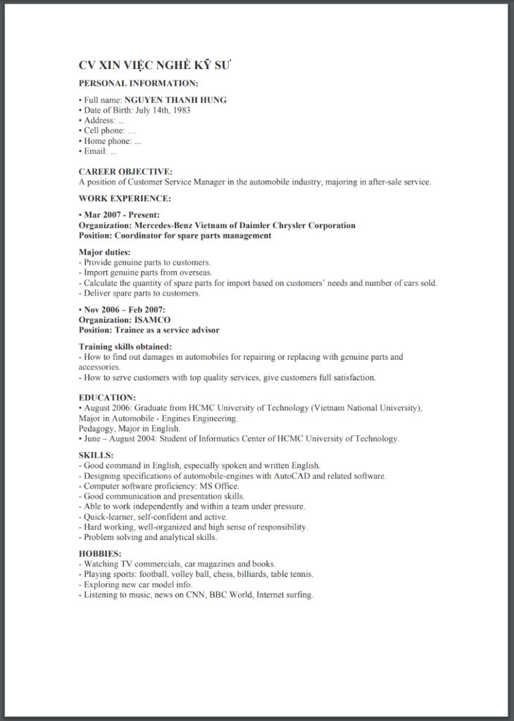 Mẫu CV tiếng anh cho nghề kỹ sư