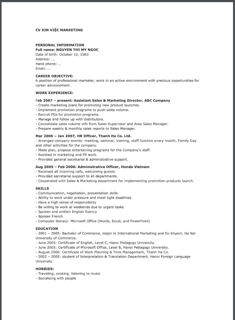 Mẫu CV tiếng anh xin việc ngành marketing