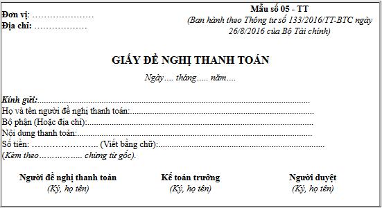 Mẫu giấy đề nghị thanh toán theo thông tư 133