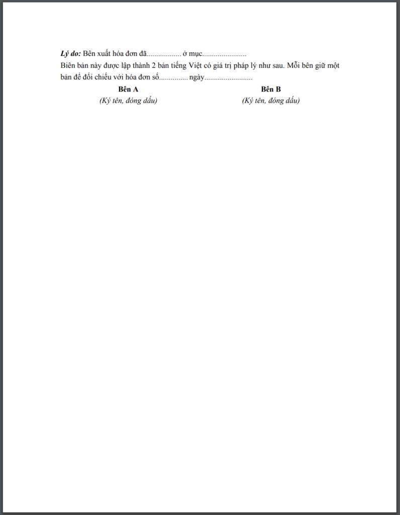Mẫu biên bản điều chỉnh hoá đơn 2
