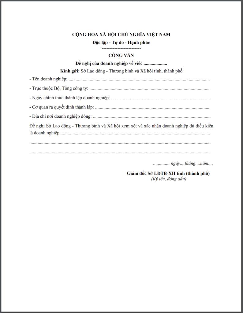 Mẫu công văn đề nghị của doanh nghiệp