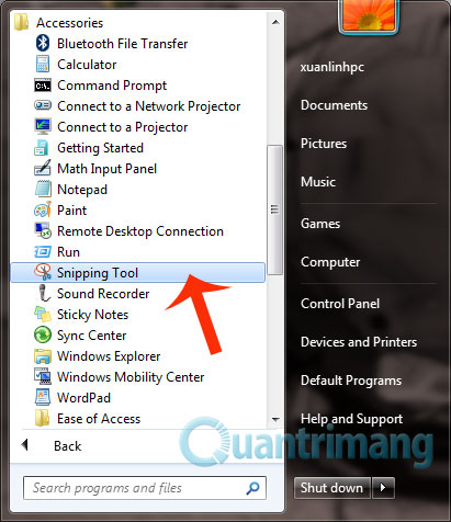Mở snipping tool trên windows 7 và windows 10