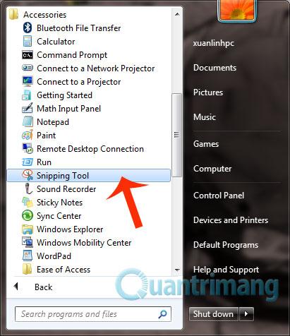 Mở snipping tool trên windows 7 và windows 10