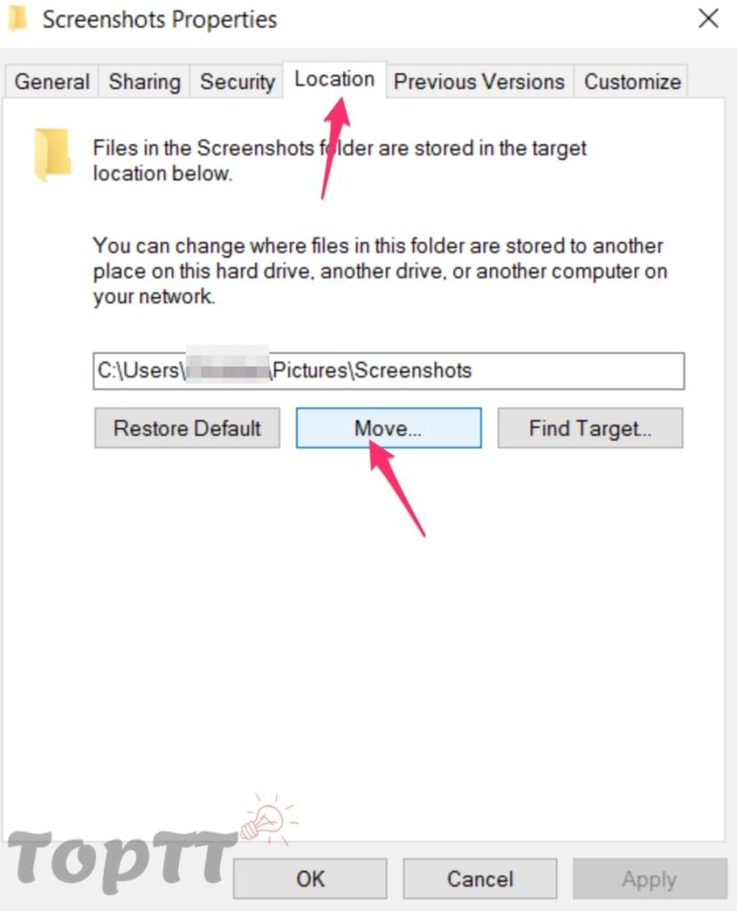 Thay đổi thư mục lưu ảnh chụp màn hình