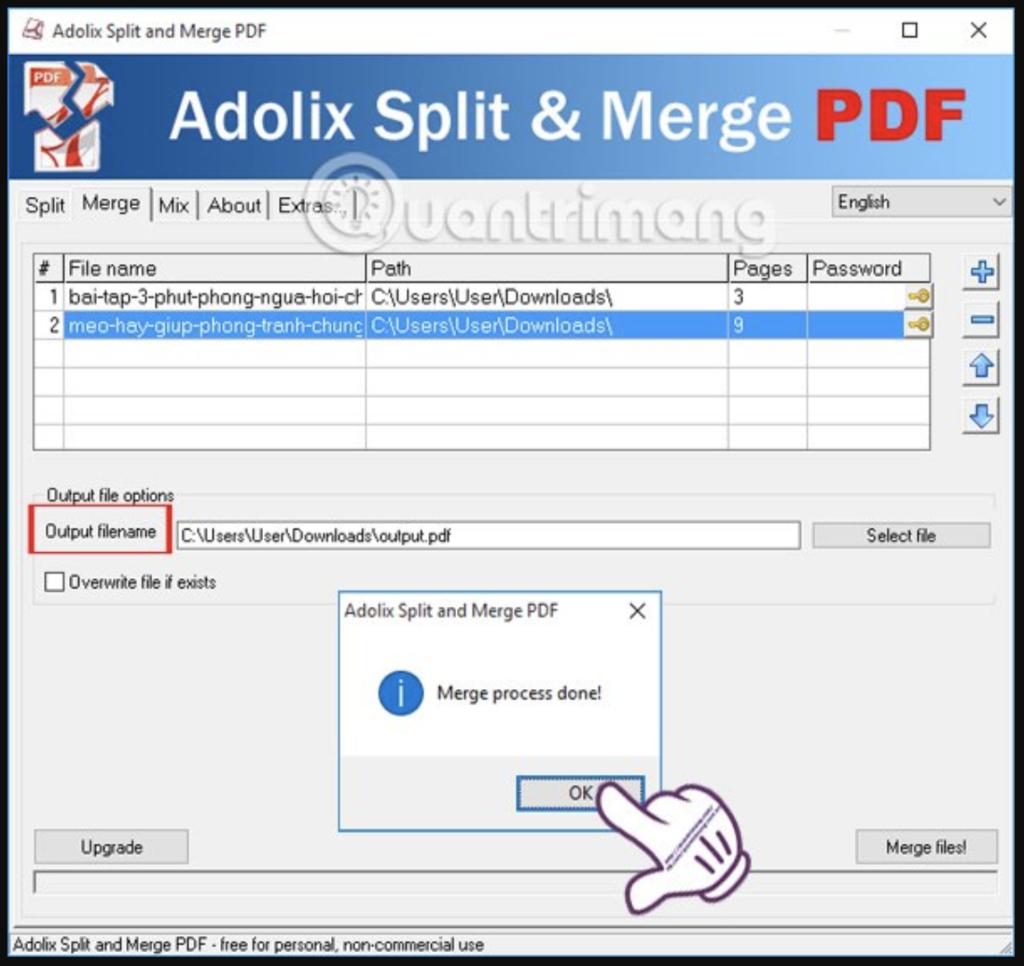 Ghép file PDF bằng Adolix Split and Merge PDF - Bước 5