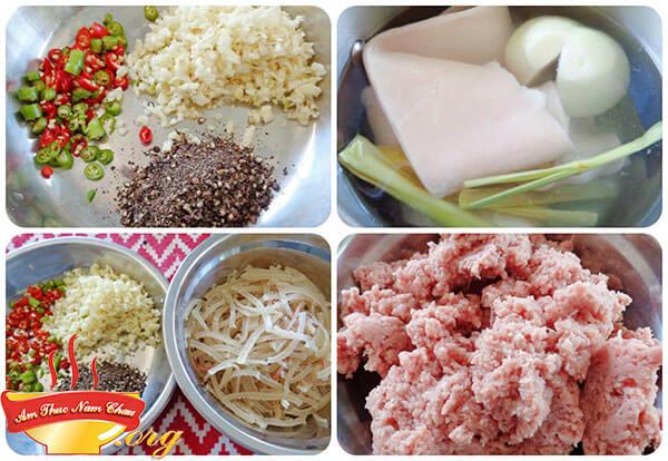 Chuẩn bị nguyên liệu để làm món nem chua rán