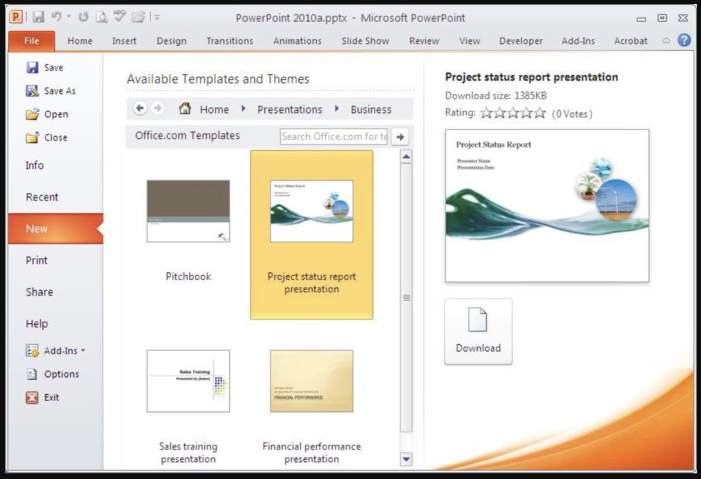 Các thao tác để chọn chủ đề trên powerpoint:
