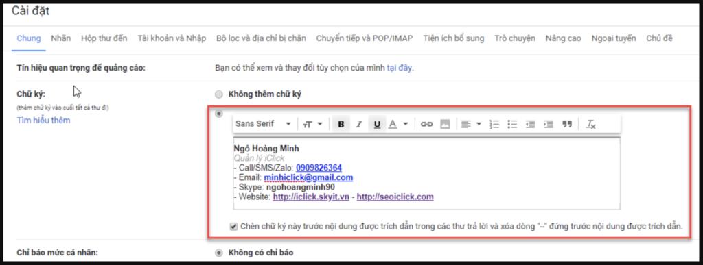 Vai trò của chữ ký gmail đối với cá nhân
