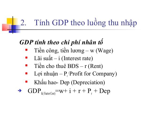 Cách tính GDP theo luồng thu nhập