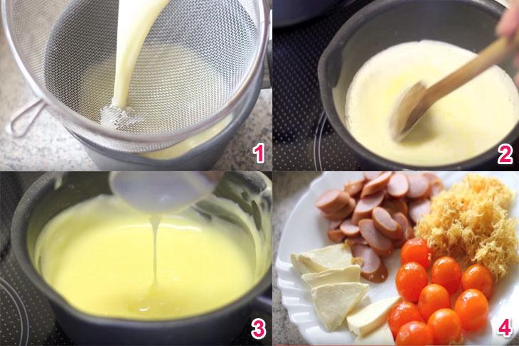 Các bước làm sốt kem béo ngậy cho món bánh