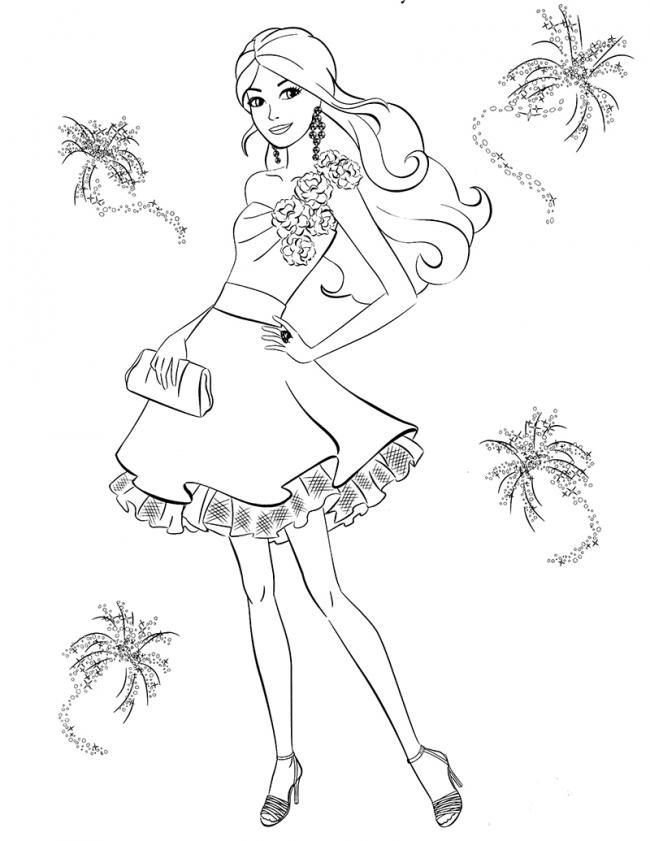 Bức tranh tô màu Barbie chụp ảnh
