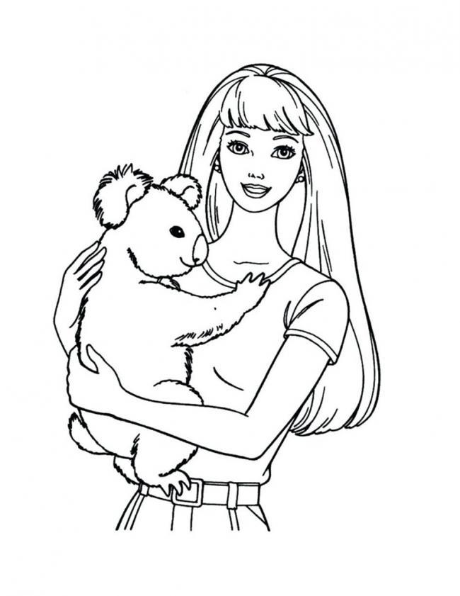 Mẫu tranh tô màu búp bê Barbie cùng cún con