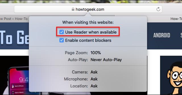 Sử dụng chế độ Reader trên Safari để chặn quảng cáo