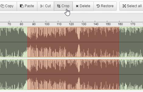 Cắt đoạn nhạc bằng cách nhấn Crop
