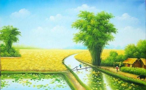 Hướng dẫn cách vẽ tranh phong cảnh quê hương đơn giản