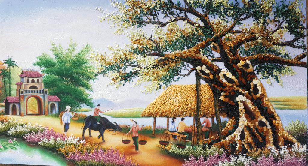 Tranh phong cảnh quê hương tái hiện lại cuộc sống đồng quê