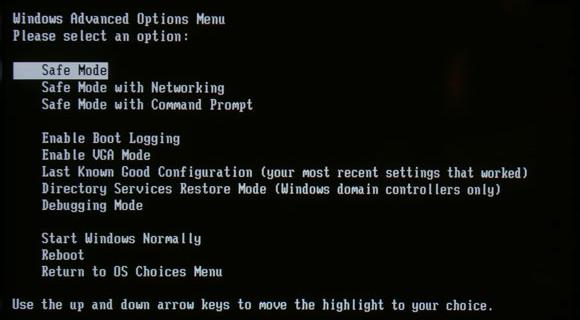 Bật chế độ safe mode để xóa file rác