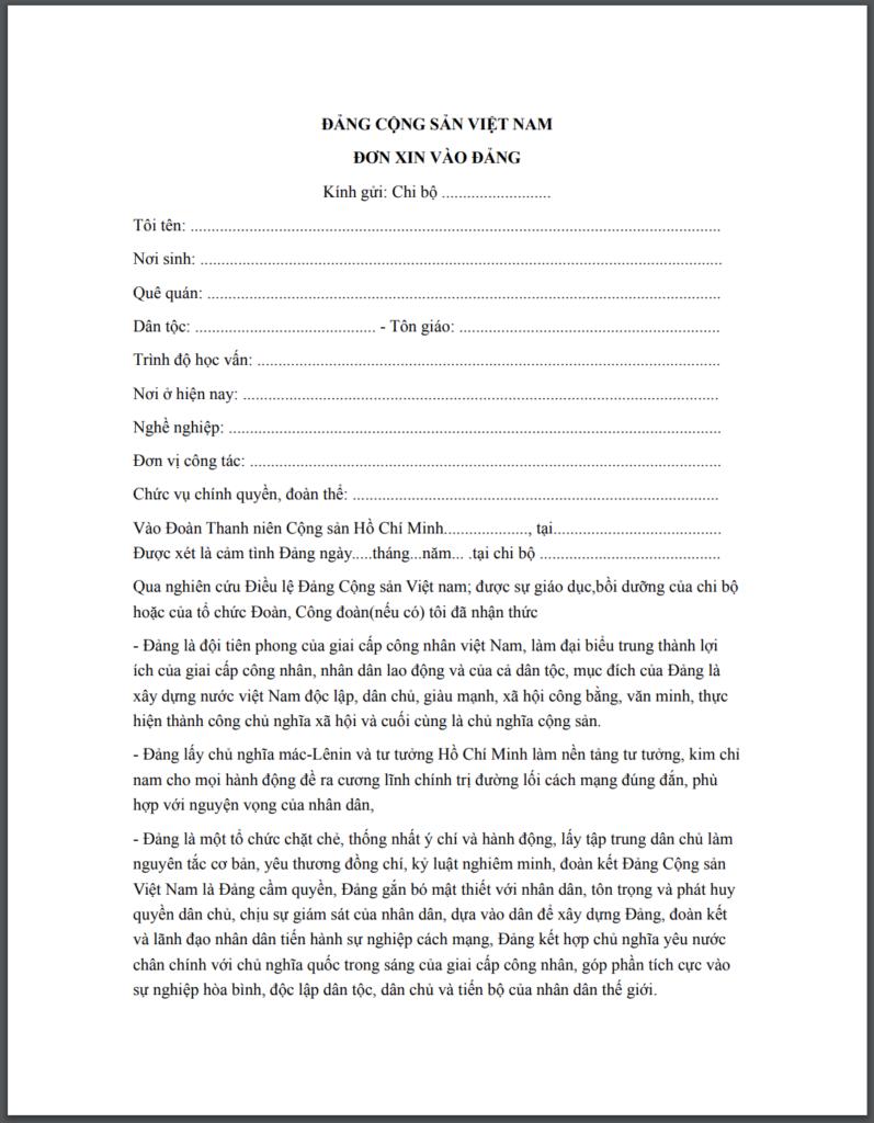 mẫu đơn xin vào  đảng của giáo viên