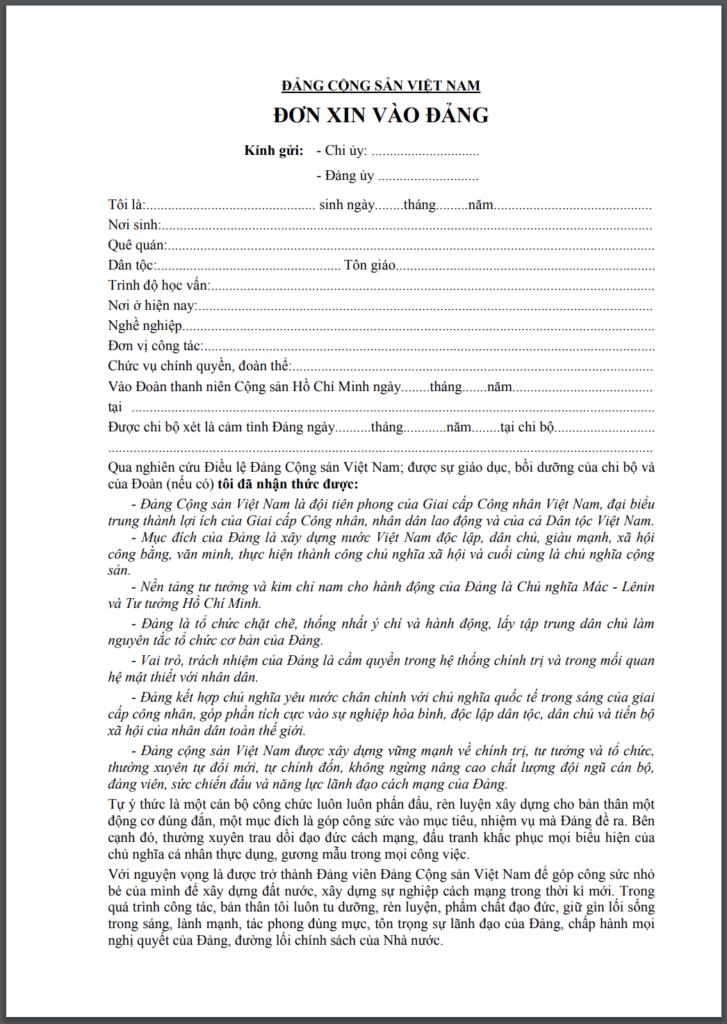 mẫu đơn xin vào đảng phổ biến nhất dùng cho cán bộ công nhân viên chức