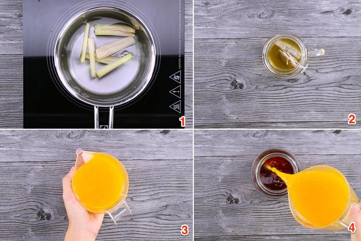 Các bước thực hiện làm trà đào cam sả, cách làm trà đào