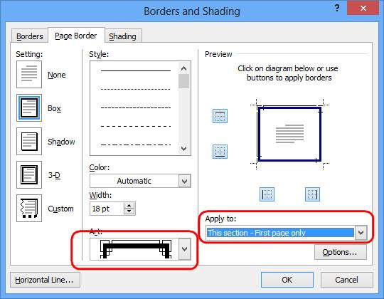 Tạo mẫu bìa trong Word bằng công cụ Page Border - chọn khung