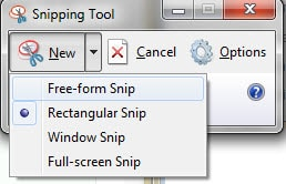 Lựa chọn các tùy chọn có sẵn của ứng dụng, Công cụ chụp ảnh màn hình Snipping Tool
